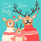 Christmas reindeer family. Cute card with deer is dressed in