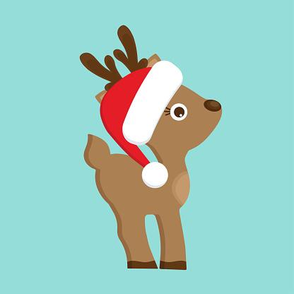 Christmas Reindeer in red hat