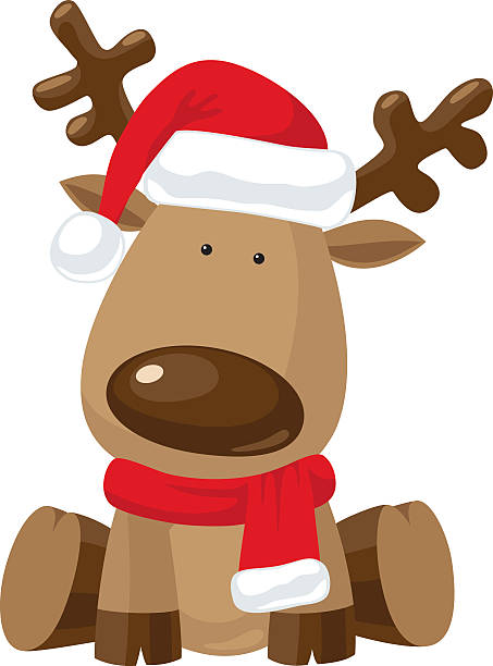 Christmas reindeer in Santa`s red hat vector art illustration