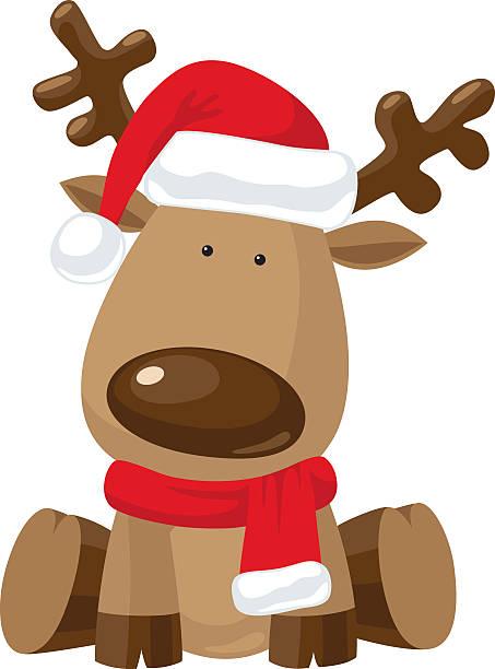 illustrations, cliparts, dessins animés et icônes de père noël renne avec chapeau rouge - renne