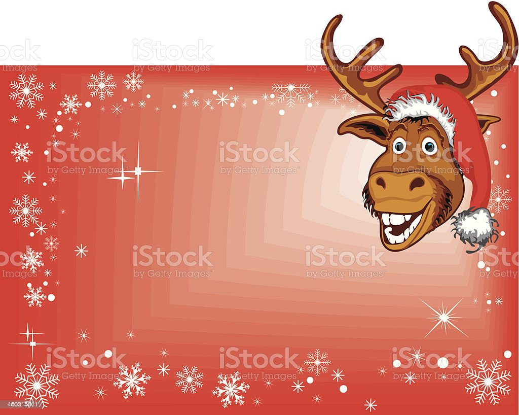 Christmas Reindeer On Blank Sign royalty-free stock vector art