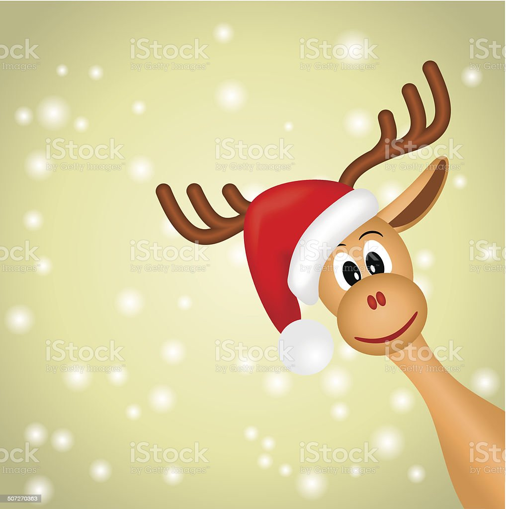 christmas reindeer on green background with snowflakes royalty-free stock vector art