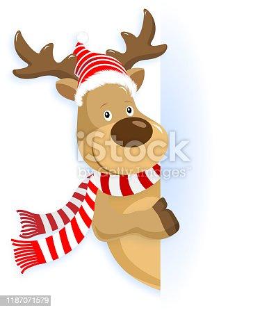 istock Christmas Reindeer Pointing 1187071579