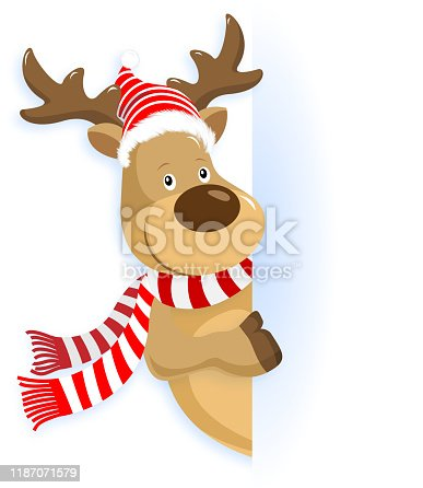 Christmas reindeer pointing a blank wall to promoting Christmas.
