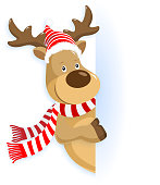 istock Christmas Reindeer Pointing 1187071579