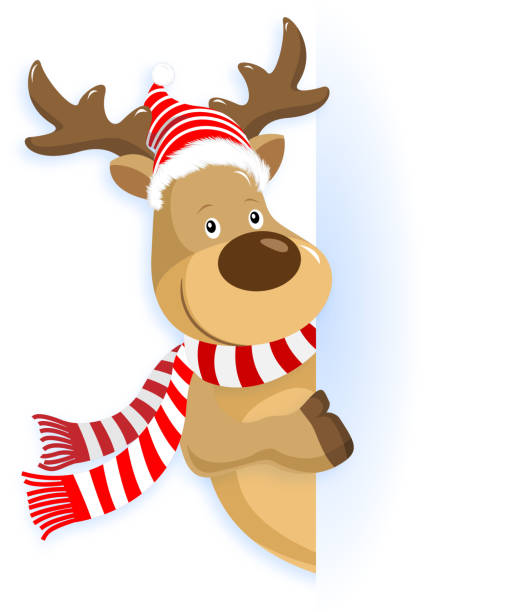 weihnachten reindeer zeigen - rentier stock-grafiken, -clipart, -cartoons und -symbole