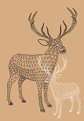 Christmas reindeer with geometric pattern, vector