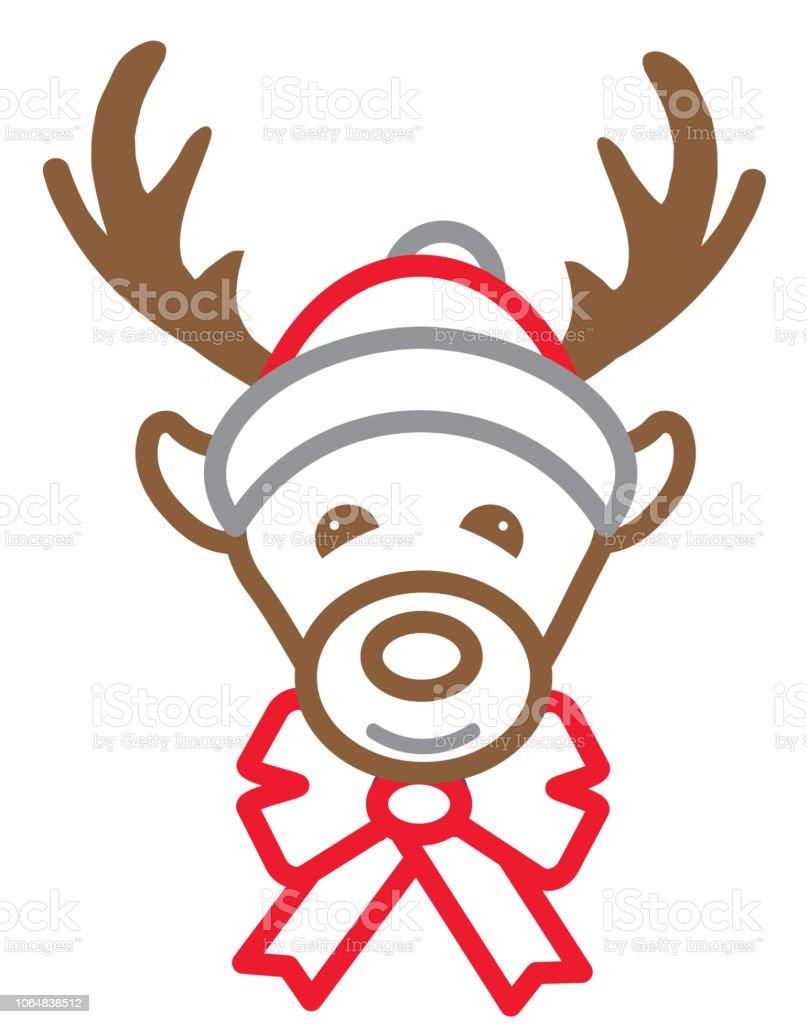 クリスマス トナカイ サンタ帽子フラット デザイン アイコンを設定簡単な