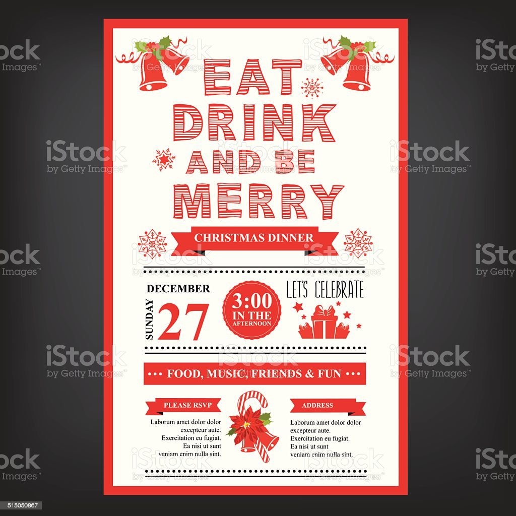 Christmas Restaurant And Party Menu Invitation Stock Vector Art ...