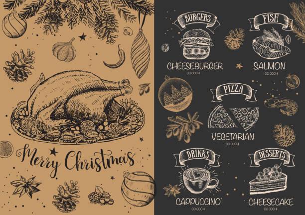illustrazioni stock, clip art, cartoni animati e icone di tendenza di christmas restaurant menu. sketch illustration. vector. - pranzo di natale