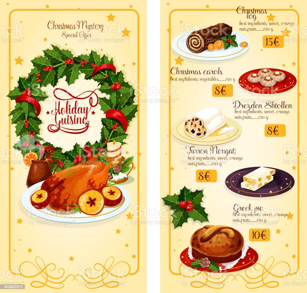 Diseño De Plantilla De Menú De Navidad Restaurante - Arte vectorial ...