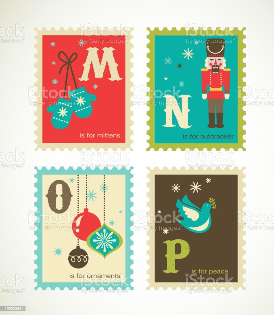 Christmas retro alphabet with cute icons vector art illustration