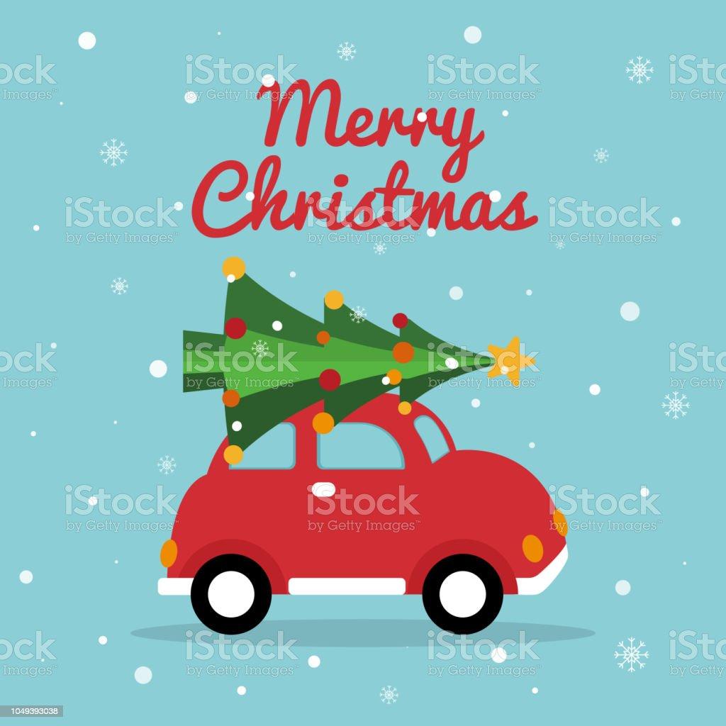 Christmas Retro Car Merry Christmas Card With Red Car Bright Xmas