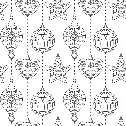 Christmas retro ornaments seamless pattern Coloring page