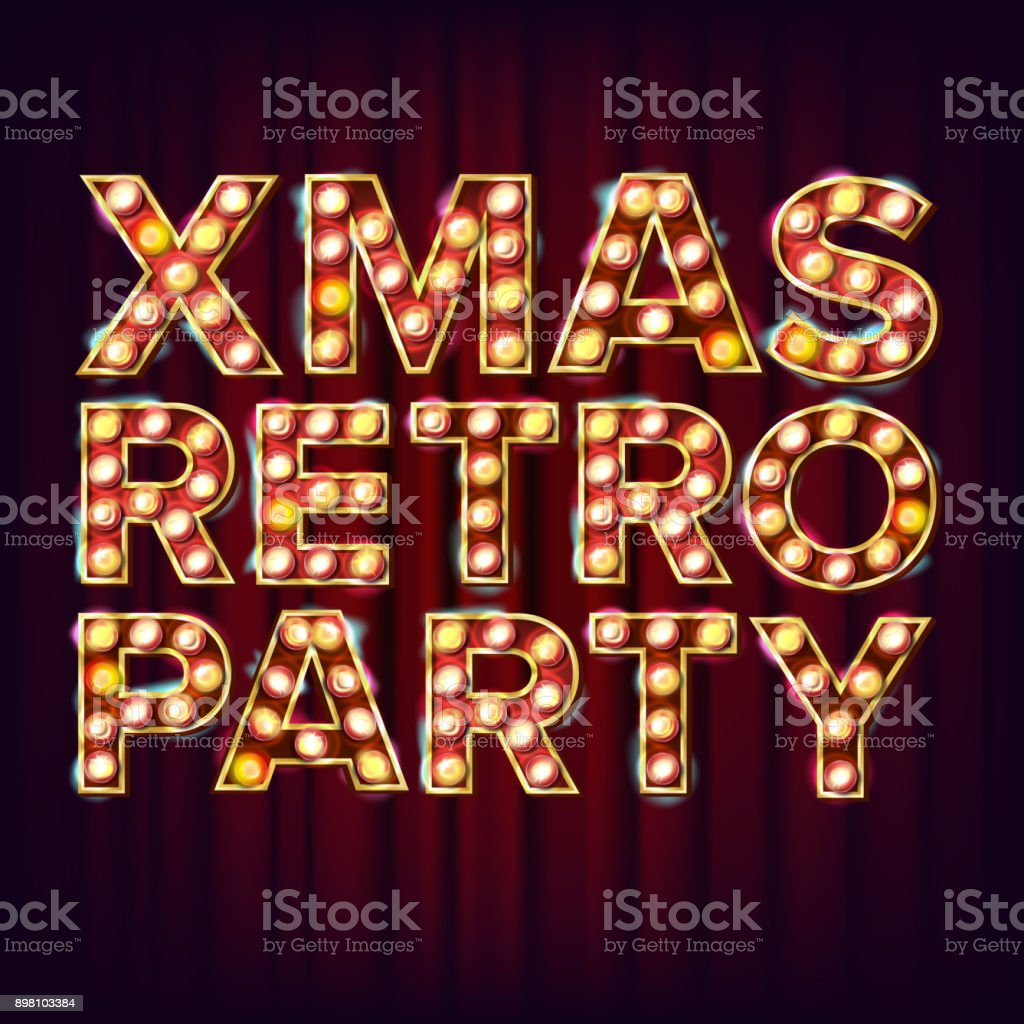 Christmas Retro Party Invitation Sign Vector 3d Electric Glowing ...