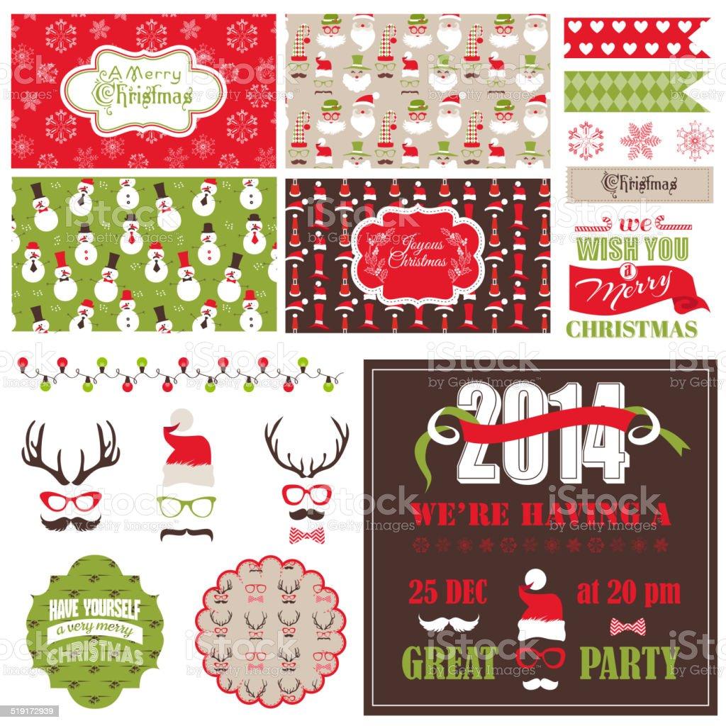 Fete De Noel Retro Rubans Set Cartes Visite Des Etiquettes Masques