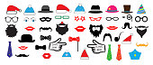 Christmas Retro Party set - Glasses, hats, lips, mustaches, masks - for design, photo booth in vector, illustration