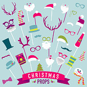 Christmas Retro Party set - Glasses, hats, lips, mustaches, masks - Photo booth Props in vector