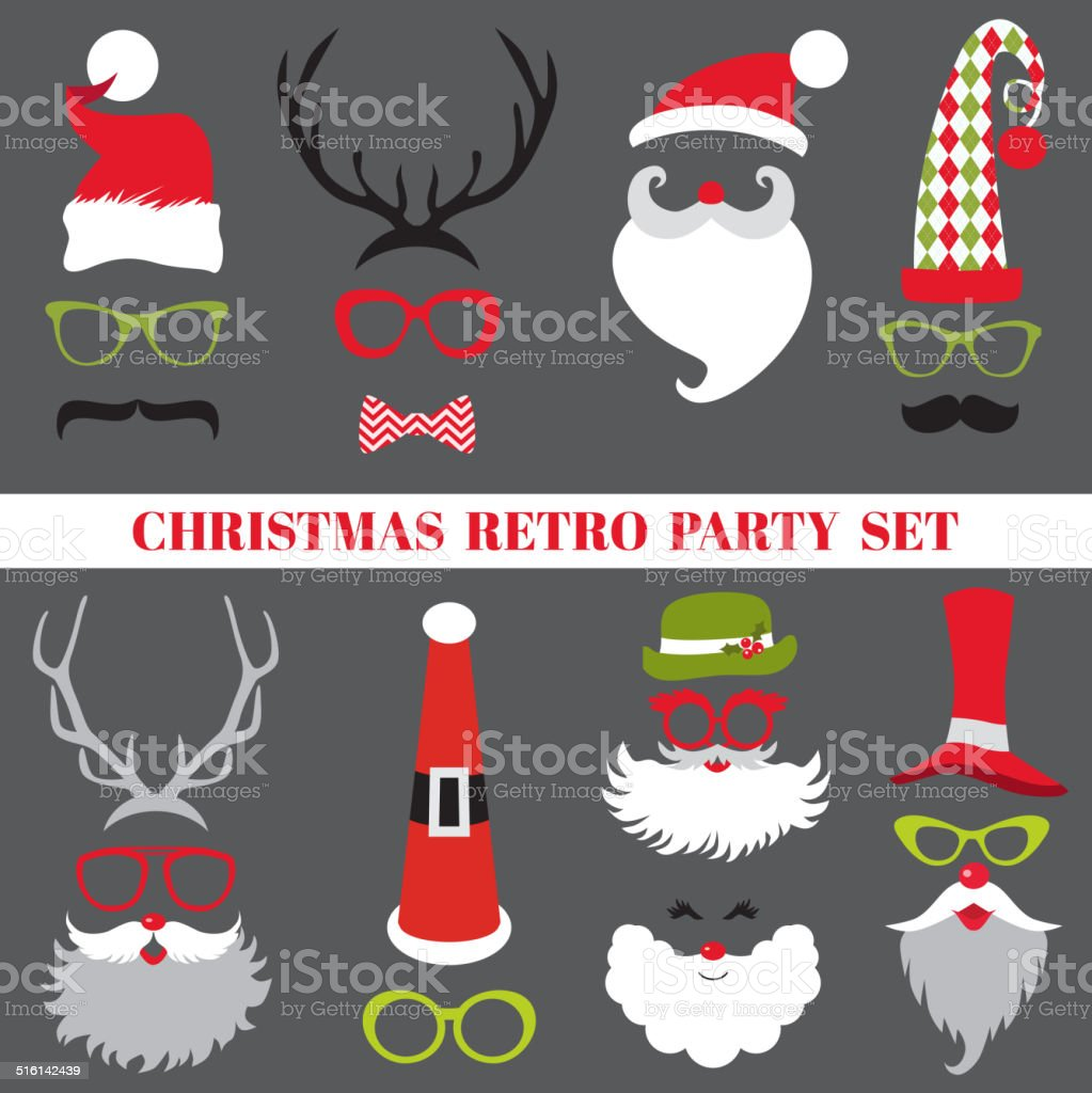 Christmas Retro Party set - Glasses, hats, lips, mustaches, masks vector art illustration