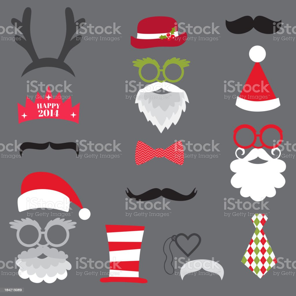 Christmas Retro Party set vector art illustration