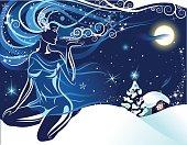 Christmas retro postcard with girl