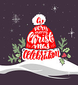 christmas postcard with hand-drawing congratulations lettering