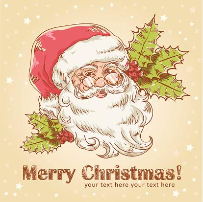 Christmas retro postcard with cute smiling Santa Claus