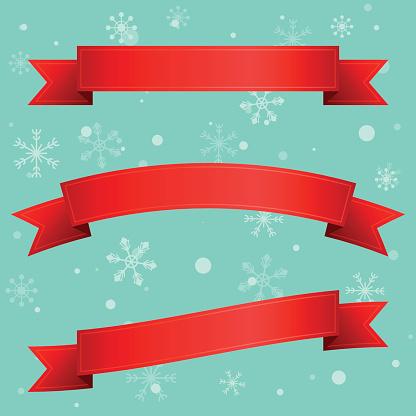 Christmas ribbons and snowflakes