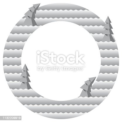 istock Christmas ring with trees. 1132209919