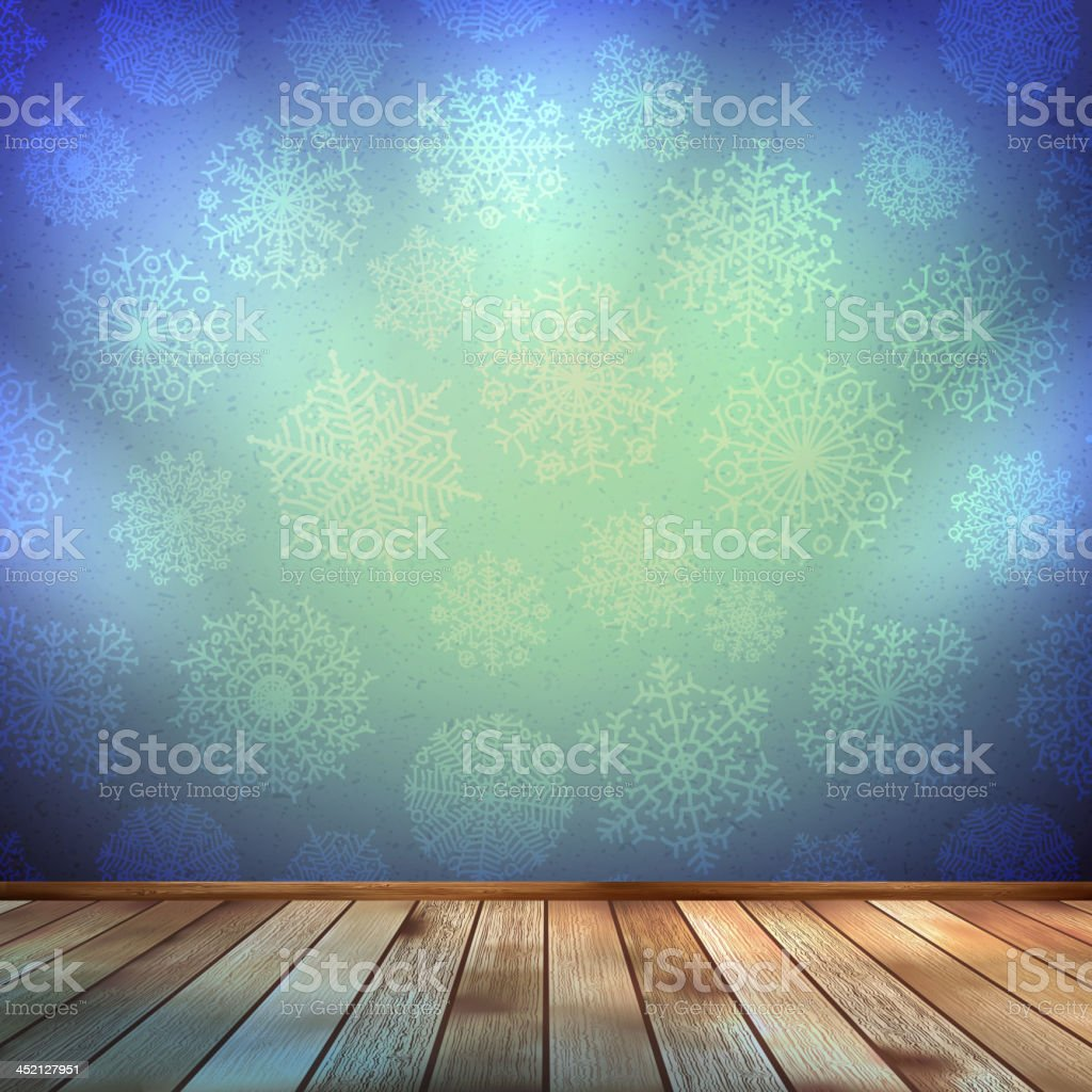 Christmas room and blue wall. EPS 10 royalty-free stock vector art
