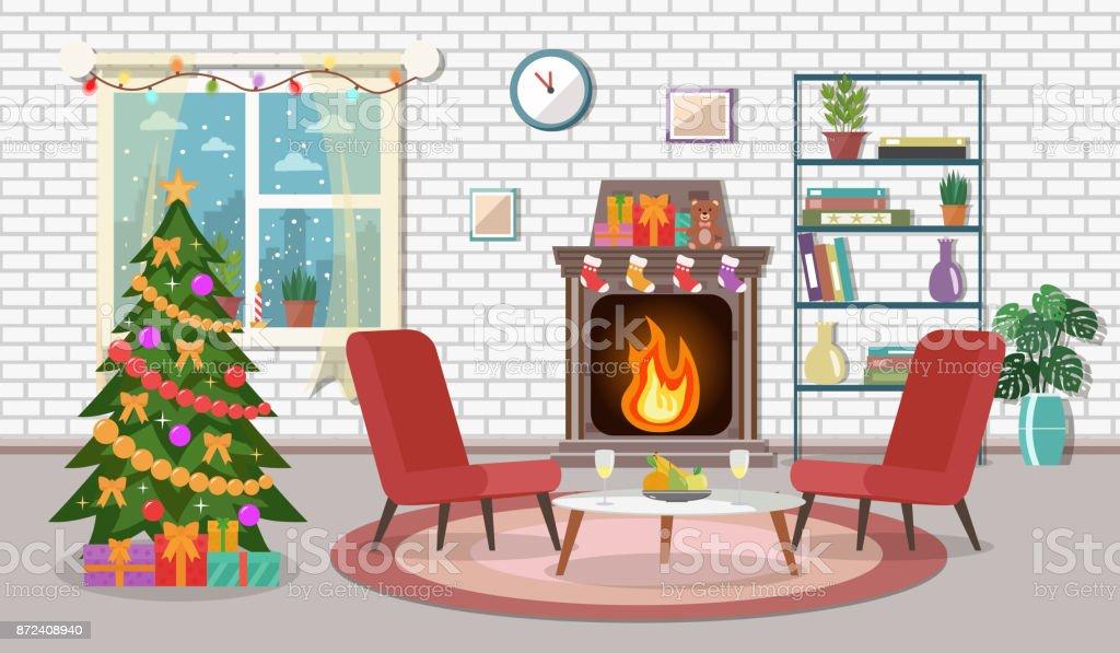 Weihnachtsbaum In Das Gemütliche Wohnzimmer. Lizenzfreies  Weihnachteninnenraum Weihnachtsbaum In Das Gemütliche