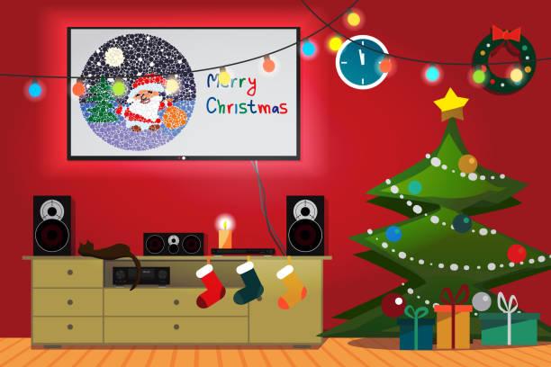 illustrazioni stock, clip art, cartoni animati e icone di tendenza di interno della sala natale - christmas movie