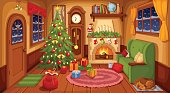 Christmas room interior. Vector illustration.
