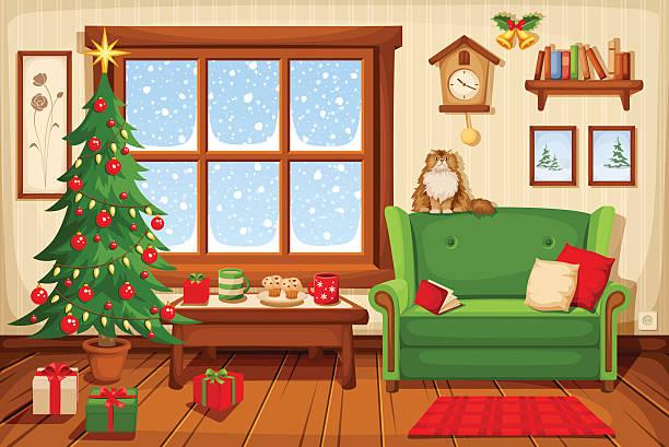 ilustrações de stock, clip art, desenhos animados e ícones de natal sala interior. ilustração vetorial. - christmas table