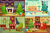 Christmas room interior. Xmas home decoration, Santa gifts under traditional tree and winter holiday house interior vector illustration