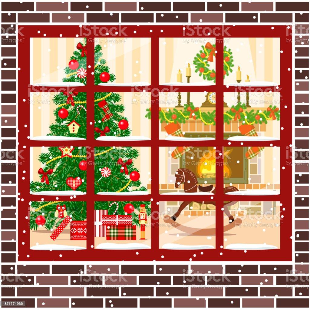 Weihnachtszimmer Mit Kamin Möbelweihnachtsbaum Vektor Illustration ...