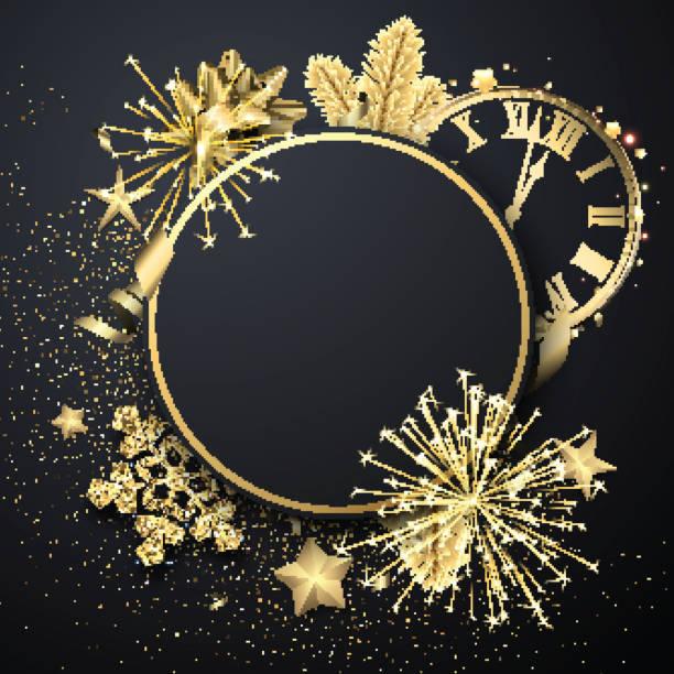 Weihnachten runde Grußkarte Vorlage mit goldglänzenden Schneeflocken, Uhr und Feuerwerk. – Vektorgrafik