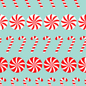 Christmas Round white and red sweet set. Candy Cane Seamless Pattern Decoration. Wrapping paper, textile template. Blue background. Flat design.