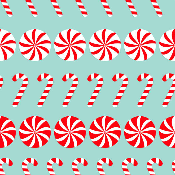 Christmas Round white and red sweet set. Candy Cane Seamless Pattern Decoration. Wrapping paper, textile template. Blue background. Flat design. Christmas Round white and red sweet set. Candy Cane Seamless Pattern Decoration. Wrapping paper, textile template. Blue background. Flat design. Vector illustration. candy patterns stock illustrations