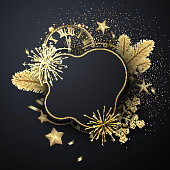 Happy New Year rounded greeting card template with golden shiny snowflakes, clock and fireworks. Vector Illustration.
