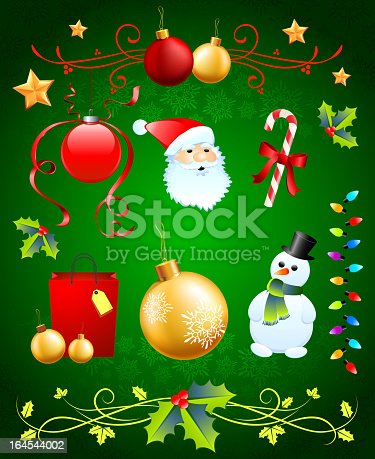 istock Christmas royalty free vector arts on Green Holiday Background. 164544002