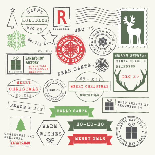 Christmas Rubber Stamp Collection Vector Illustration of Christmas stamps and wishes. Letter to Santa Rubber Stamps. Dear Santa, Ho-Ho-Ho, Merry Christmas, Hello Santa, Santa Claus reindeer, Express Delivery, North Pole post office postmark stock illustrations