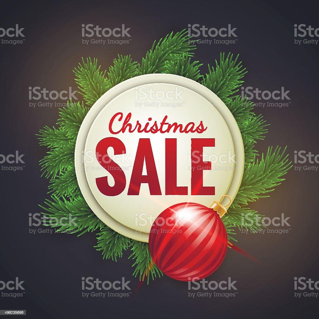 Weihnachten Verkauf Werbung Weißen Banner Dekoriert Mit Tanne Zweige ...