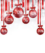 Christmas sale background with balls. Vector Illustration.