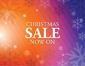 Vector of Christmas sale on colorful background with snow flake pattern. EPS ai 10 file.