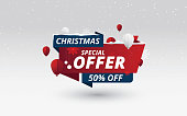 Christmas Sale Banner Design Template with 50% Discount Tag