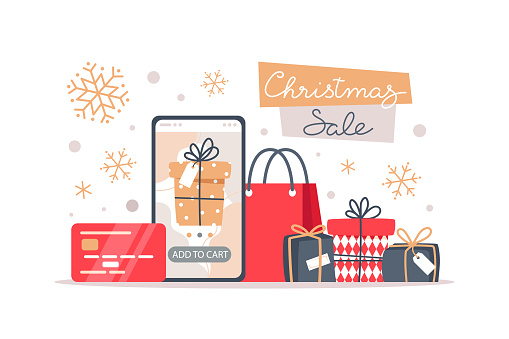 Christmas sale banner, online shopping using a smartphone, vector illustration in flat style