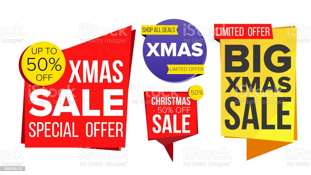 Christmas Sale Banner Set Vector Sale Banner Discount Tag Special