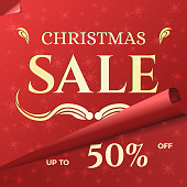 Christmas Sale Banner Template with Swirled Red Paper