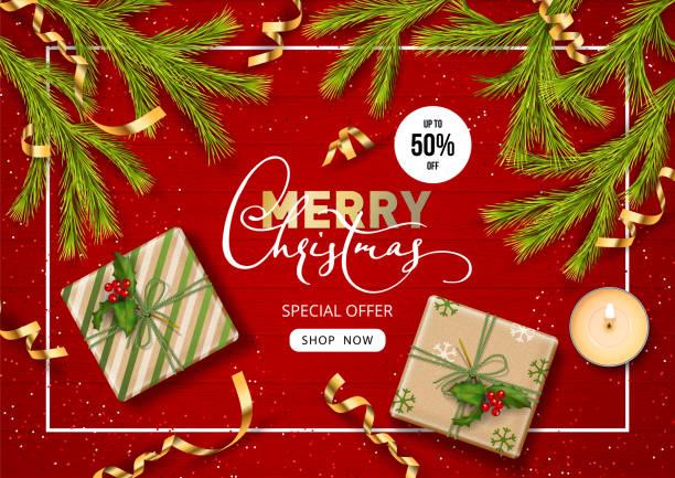 christmas sale banner - weihnachtsgeschenk stock-grafiken, -clipart, -cartoons und -symbole